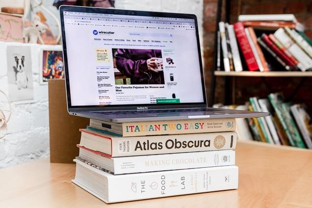 Raise laptop for better video conferences
